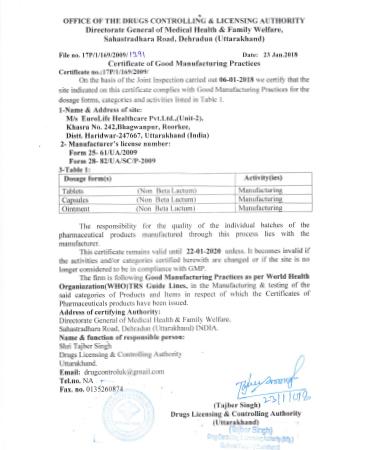 Who Gmp Certificate Eurolife Healthcare Pvt Ltd